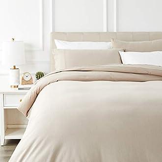 AmazonBasics Flannel Duvet Cover Set - 200 x 200 cm / 50 x 80 cm x 2, Taupe