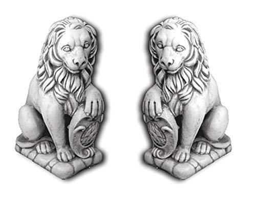 Defi Deko- und Figurenhandel Löwenpaar sitzend/weiß mit Schattierungen (H964+H965), Tierfiguren aus Steinguss, 2 Stück, Links + rechts, Höhe: je 37 cm, Gewicht: je 55 kg Defi Link