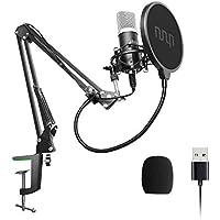 USB Mikrofon, 192kHZ / 24bit, uhuru Professionelle Podcast-Mikrofonsets mit Mikrofonständer, Stoßdämpferhalter, Windschutzscheibe, Popfilter, für Rundfunk, Aufnahme, Youtube,Podcasts uvm