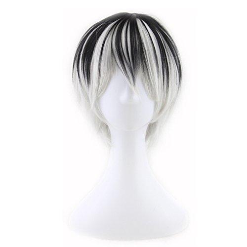 QHGstore Mens Cosplay Perücke Kurz Schwarz Gradient Weiß Gerade Synthetik Haar Halloween (Schwarzen Kostüme Mann Mann Und Halloween Weißen)