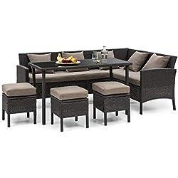 Blumfeldt Titania Dining Lounge Set • Ensemble de Jardin • Ensemble d'angle • Set 5 pièces : canapé d'angle, Table et 3 tabourets • 7 Places • Coussin d'assise 8 cm • Housse: Brun • Rotin: Noir