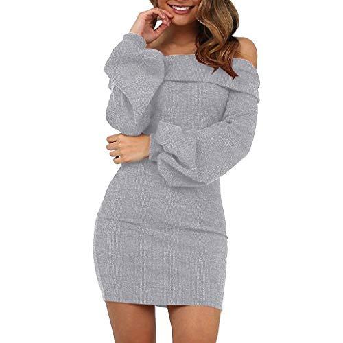 Riou Pulloverkleid Damen Elegant Herbst Langarm Lang Sexy -