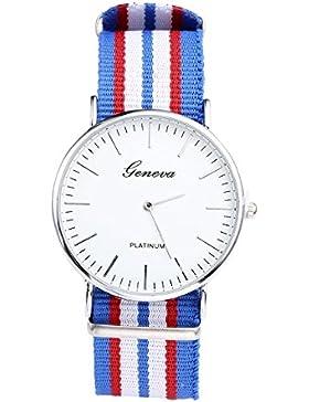 JSDDE Uhren,Genf Herren Damen Armbanduhr Nylon Textil Band Durchzugsband Analog Quarzhr Chronograph Uhr(7 Zeile...