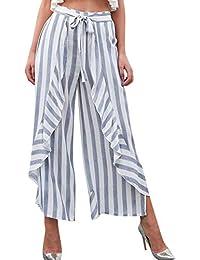 84b390bfb1 Verano Elegantes Moda Anchos Pantalones Flecos Elastische Taille Mujer  Bandage con Lazo Volantes Festivo Irregular Anchos