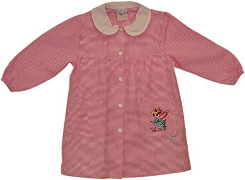 Tutti a scuola - grembiule rosa per bambina, asilo elementare, fantasia a quadri, con ricami, 2-3-4-5-6 anni