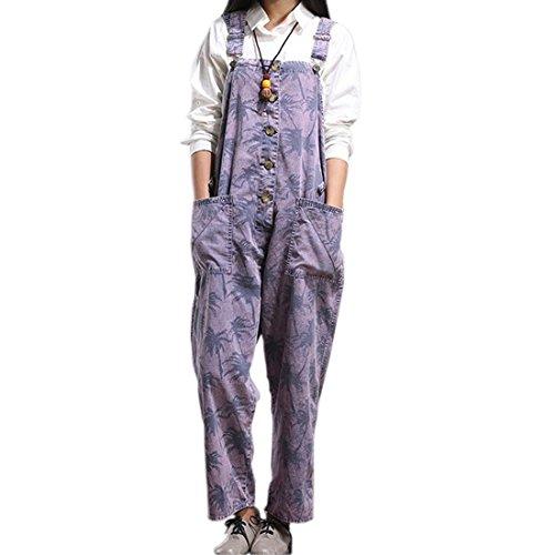 SiDiOU Group Damen Casual Printed Baggy Hose Weite Bein Latzhosen Spielanzug Jumpsuit Spielanzug (One Size, Style 3-Violett)