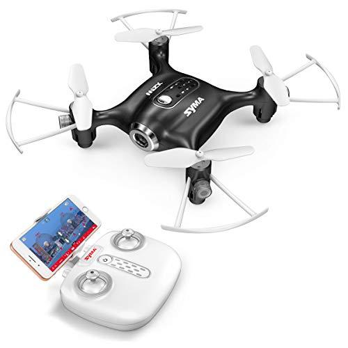 FPV Mini Drohne Syma X21W 2.4 GHz mit 6 Achsen Gyroskop RC Quadcopter 3D Flip EIN Schlüssel Start / Landung, Headless Modus Pocket Drone für Anfänger Kinder-Schwarz