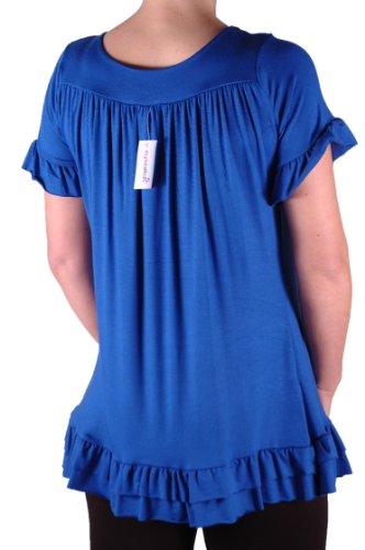 EyeCatch - Tunique avec collier manches courtes grandes tailles - Jovina - Femme Bleu Royal