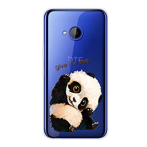 Aksuo for HTC U11 Life Hülle Silikon, TPU Silikonhülle Handyhülle Kratzfest Durchsichtige Stylisch Muster Design Robust Leicht Passgenau Case - Give me Five Panda