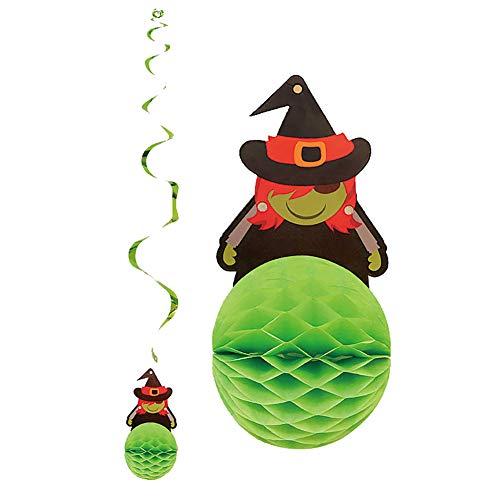 Yimosecoxiang Halloween Heiße Halloween Deko Papier Hexe Eule Kürbis Monster Spirale zum Aufhängen Zuhause DIY Wimpelkette Green Witch