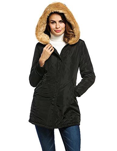 ZEARO Wintermantel Damen Mantel Jacke Steppmantel Winterjacke mit Kunstpelz Kapuze Parka lange Outwear Gr.M-XXL