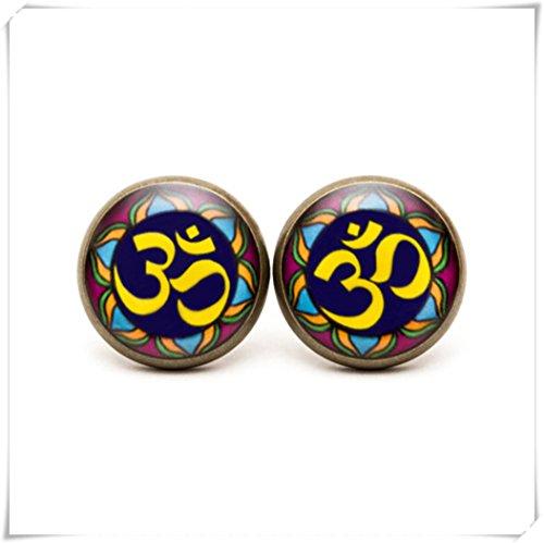 JUN OM Ohrstecker, OM Schmuck, OM Ohrringe, Hinduismus Jewelry Ohrringe, Yoga, Mantra Ornament