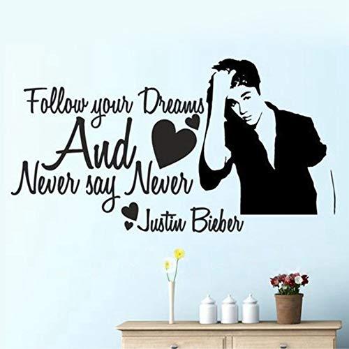 Kostenloser Versand Sag Niemals Nie Justin Bieber Mädchen Zimmer Wandtattoos, Mädchen Inspirational Zitate Vinyl Wandaufkleber Dekor 58X30cm