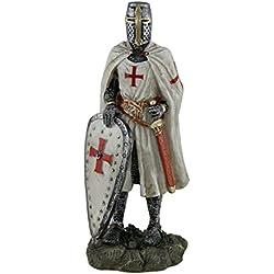 Figura de resina de Zeckos, caballero templario, cruzado medieval, de pie, con escudo y espada, 8,25 cm x 21,59 cm x 6,35 cm, color blanco, talla única