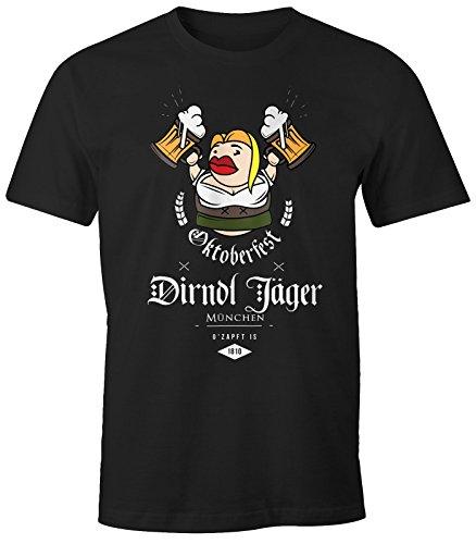 Herren T-Shirt - Oktoberfest Dirndl Jäger - Comfort Fit MoonWorks® Schwarz