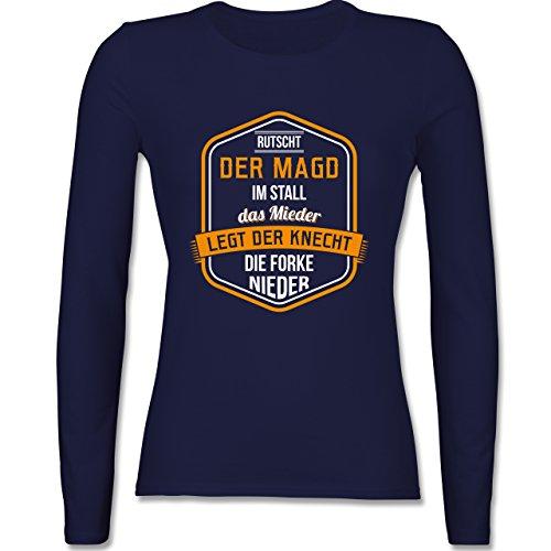 Landwirt - Bauernweisheit Mieder - tailliertes Longsleeve / langärmeliges T-Shirt für Damen Navy Blau
