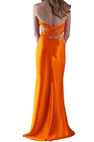 Toscane abendmode chic forme de mariée en satin abendkleider ball promkleider fente longue Orange - Orange