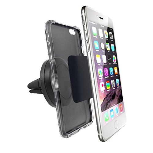 Incutex universal Magnet KFZ-Halterung Lüftungsschlitz für iPhone Samsung Smartphone - 360 Grad Autohalterung, schwarz