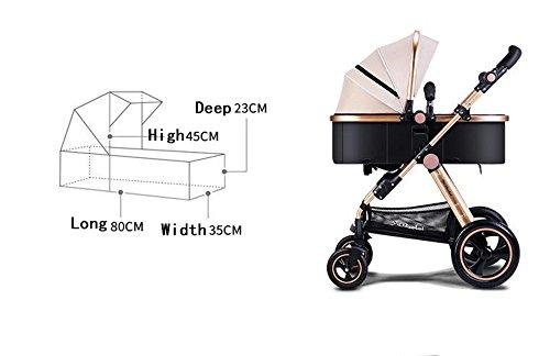 El cochecito de bebé plegable, cochecito, puede sentarse en invierno y verano la carretilla de los niños del bebé, cochecito ligero, carro de bebé de alto perfil ( Color : Khaki )