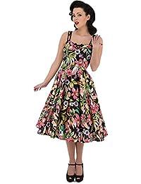 H&R Magenta LILY Keyhole Vintage FLOWER Scoop Swing Dress KLEID Rockabilly