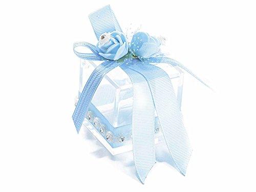 Scatolina portaconfetti con fiori decorativi, strass e fiocco azzurro (10 pezzi) - 654631