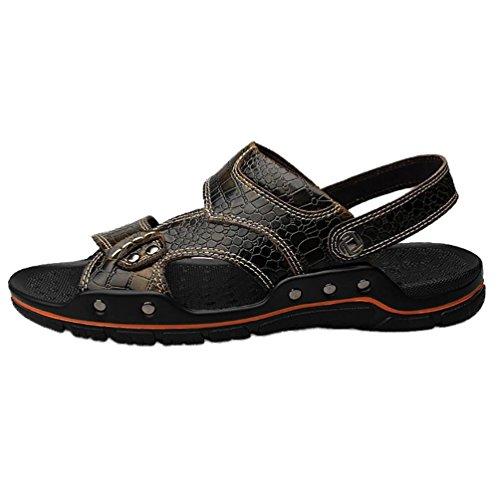 SHANGXIAN Herren große Alligator Textur Flip Flops im Sommer Casual Leder Sandale Khaki