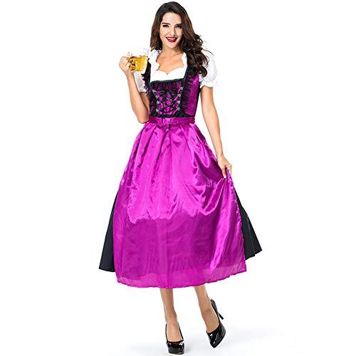 Brust Holloween Kostüm - MeterMall Damen Cosplay Bier Kellnerin Dirndl Kleid für Bier Festival Halloween Karneval Kleidung Gr. L, As Shown,l