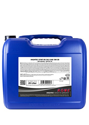 ROWE Hightec Synt RS SAE 5W-30 DLS - 20 Liter PKW-Motoröl, vollsynthetisch (HC-Synthese) |Made in...