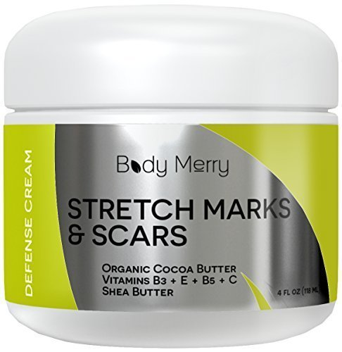 Stretch Marks Cream - For Prevention and Reduction of Old and New Stretch Marks & Scars - Best Natural & Organic Formula for Pregnancy - Also for Men - Guaranteed Results 4oz by Body Merry -