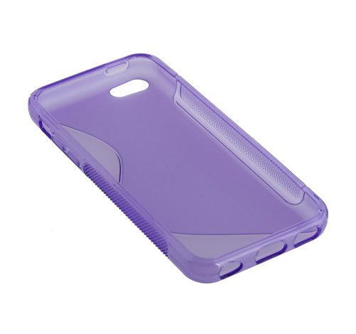 Kit Me Out TPU-Gel-Hülle für Apple iPhone 5C - Rauchig schwarz S-förmiges Wellenmuster Violett S-förmiges Wellenmuster