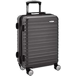 AmazonBasics Valise rigide à roulettes pivotantes de qualité supérieure avec serrure TSA intégrée - 55 cm, Noir, Autorisé par Ryanair et par la plupart des compagnies aériennes low cost