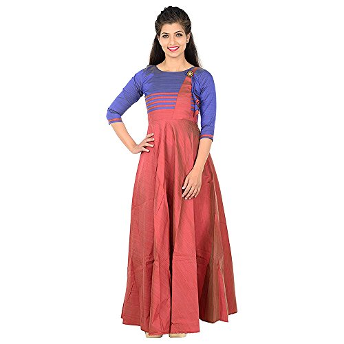 Purva Art Women's Chiku Multi Blouse pattern Stitched Long Gown For Girls(PA_0803_Various_Colour_Chiku...