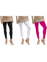 Lili Women's Ankle Length Cotton Lycra Legging (Pack of 3, Free Size, Black, White, Hot Pink)