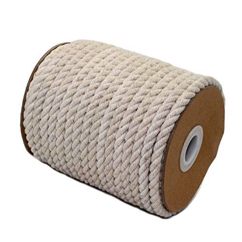 AILINDA Natürliches, umweltfreundliches gedrehtes Hanfseil, stark, dreifach geflochtenes Seil aus Jute für Gartenarbeit, Dekoration, Haustier-Spielzeug, Heimwerkerarbeiten