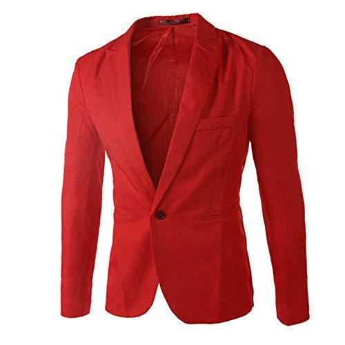 iHENGH Les Hommes de Charme décontracté Slim Fit Un Bouton Costume Blazer Manteau Veste Tops Hommes Mode(FR-46/CN-L,Rouge)