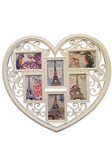 Fotorahmen Collage 6 Fotos, Herzform, XXL 50x60 cm, das perfekte Geschenk für den Liebsten/die Liebste, zur Hochzeit, zum Geburtstag, weiß, Kunststoff, romantisch 6 Fotos zu je 10x15cm