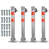 Janoon, set di 2, 3 o 4 barre di sicurezza pieghevoli per parcheggio, con serratura, per riservare i parcheggi