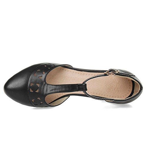 COOLCEPT Femmes Mode Confortable Hollow T-Strap Chunky Talon Moyens Sandales for Robe Travail Bureau Noir