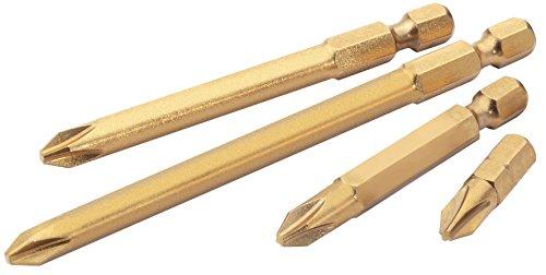 X-long Hex Bit (Draper 10591 Expert No.2 1/4'' Hex. Cross Slot Titanium Nitride Coated Insert Bit 50Mm Long X 5)