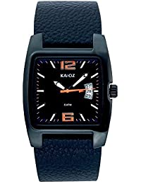 KA:OZ A4662S5I - Reloj para hombres, correa de cuero color negro