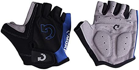 Generic Super Unisex Cycling Gloves Men Sports Half Finger- Blue- 9cm