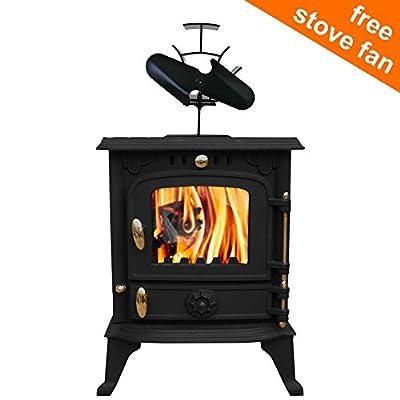 Lincsfire Cast Iron Woodburner Stove Harmston JA013S 5.5KW Multifuel High Efficient Wood Burner Log Burning Fireplace with Free 2 Blade Stove Fan