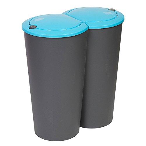 Double Recycling Waste Bin Kitchen Rubbish Trash Disposal Bins 2 x 25 Litre (Karton-recycling-container)