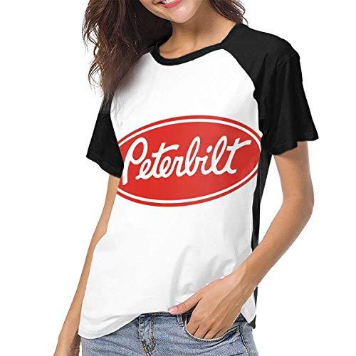 Kmehsv Damen Kurzarm T-Shirts mit Rundhalsausschnitt, Peterbilt Logo Womans Women\'s Baseball Short Sleeves Loose Short SleeveStylish Baseball T