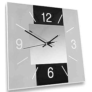 dekojohnson - Moderne Wanduhr aus Glas für Küche Wohnzimmer Schlafzimmer - Design Küchenuhr Retro Schwarz Grau 30x30cm Gross