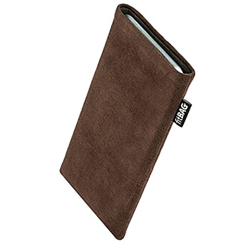 fitBAG Classic Brown custom tailored sleeve for E-Ten Glofiish M700. Genuine Alcantara pouch with integrated MicroFibre lining for display cleaning