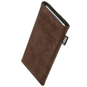 fitBAG Classic Braun Handytasche Tasche aus original Alcantara mit Microfaserinnenfutter für Huawei Ascend Y530