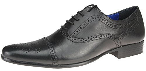 Red Tape Sladeavec-Noir Brun-Chaussures richelieu en cuir à lacets Bout pointu 7, 8, 9, 10 11 12 Noir