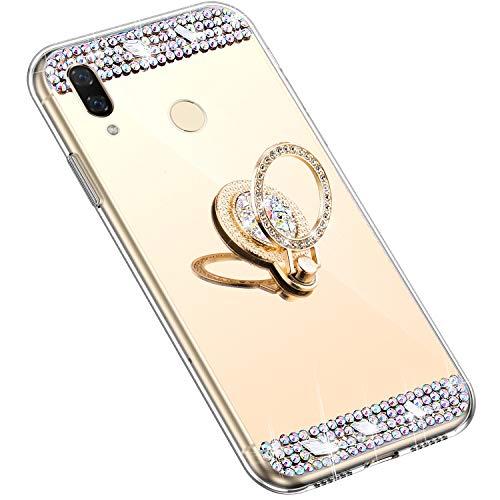 Uposao Kompatibel mit Huawei Nova 3i Hülle mit 360 Grad Ring Ständer Glänzend Glitzer Strass Diamant Transparent TPU Silikon Handyhülle Ultra Dünn Durchsichtig Schutzhülle Case,Gold