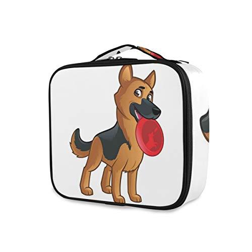SUGARHE Freundlicher Hund der elsässischen spielerischen Zeichentrickfilm Figur Zusammensetzung,Kosmetik Reise Kulturbeutel Täschchen mit Reißverschluss
